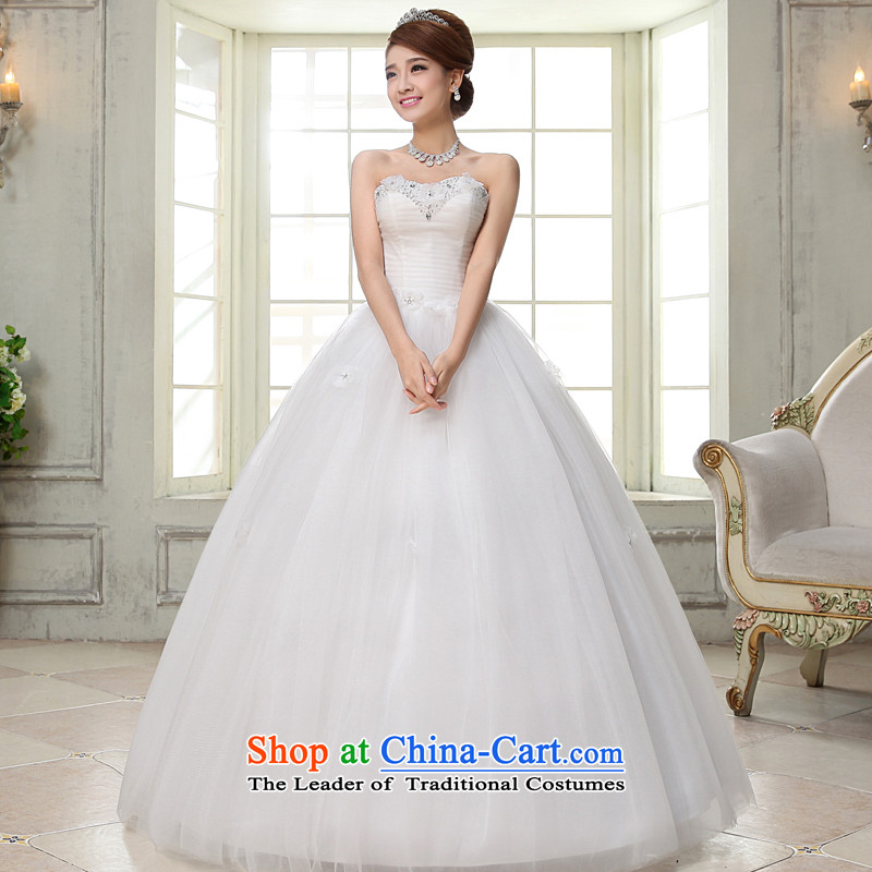 The privilege of serving-leung 2015 new Korean brides wedding dress and align to Princess chest stylish wedding dress dress white?L
