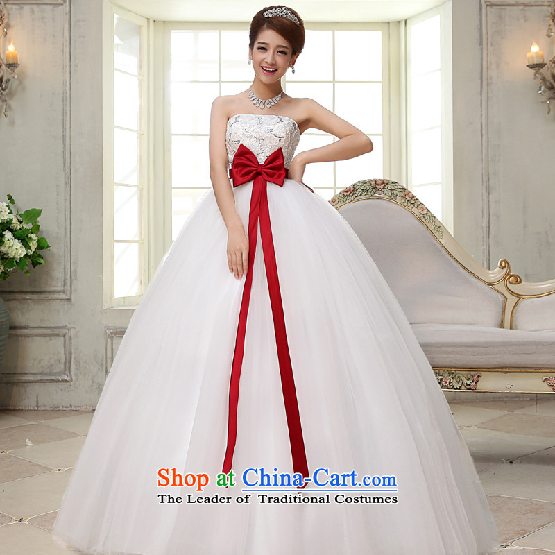 The privilege of serving-leung 2015 new bride Korean Top Loin of pregnant women with chest wedding dress code thick mm wedding dress聽7XL White
