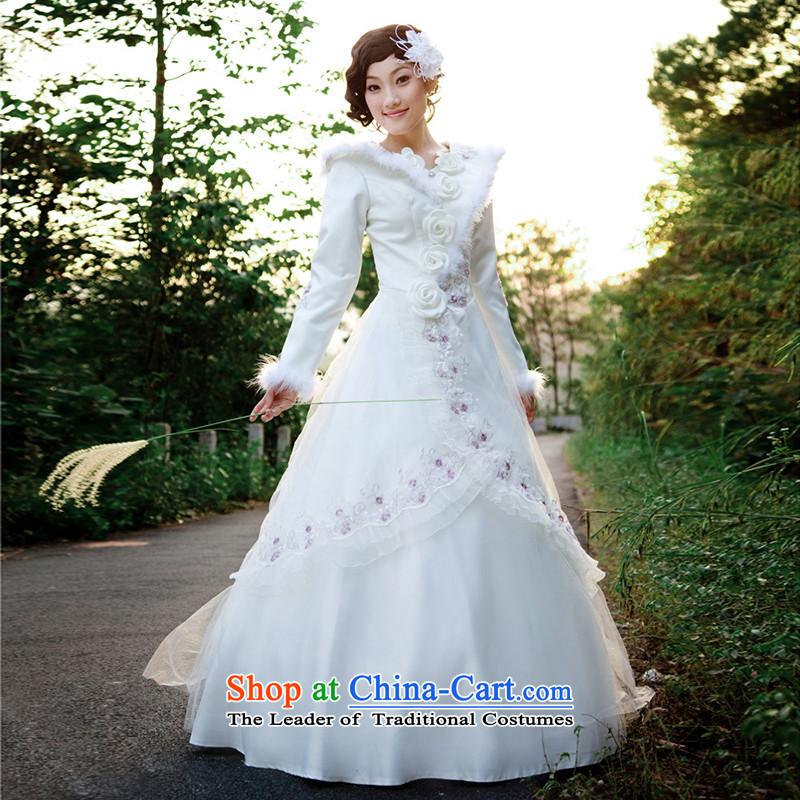 A Bride wedding dresses cotton winter wedding Korean Princess wedding to align the Korean style wedding 821 M, a bride shopping on the Internet has been pressed.
