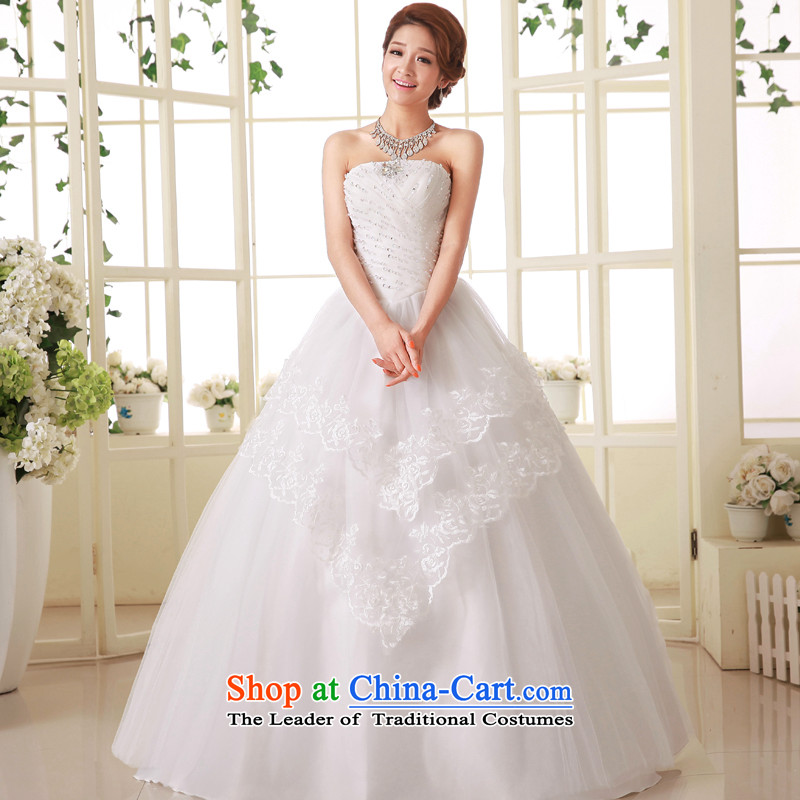 The privilege of serving-leung Korean brides wedding dress Princess Mary Magdalene chest diamond sweet to align the strap wedding dress dresses Sau San White聽2XL