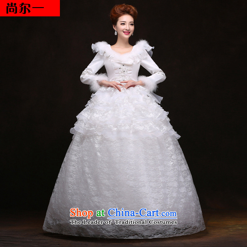 Yet, a winter clothing new wedding dresses and cotton waffle long-sleeved winter lace wedding YFTK1281 White M