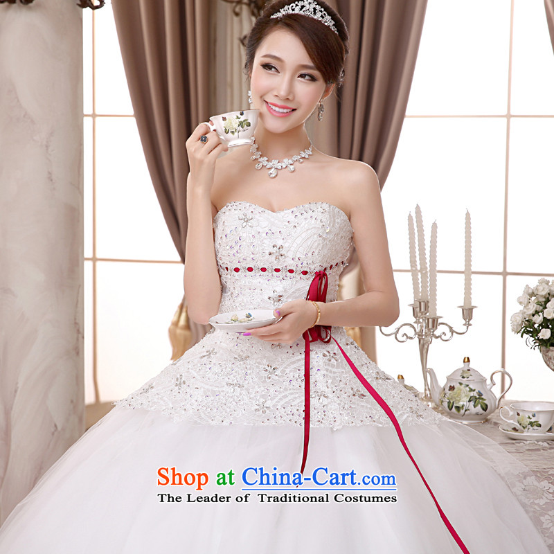 The privilege of serving-leung 2015 new Korean brides wedding dress and chest straps to align the sweet princess wedding dress White聽XXL