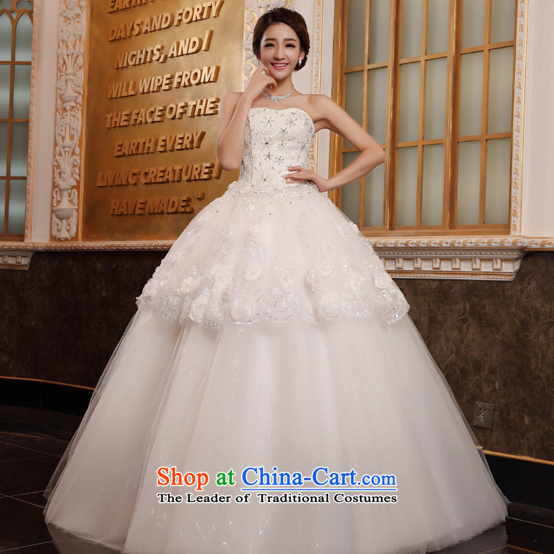 The privilege of serving-leung 2015 new bride Korean fashion lace wiping the chest to graphics thin wedding dress wedding dress White?4XL
