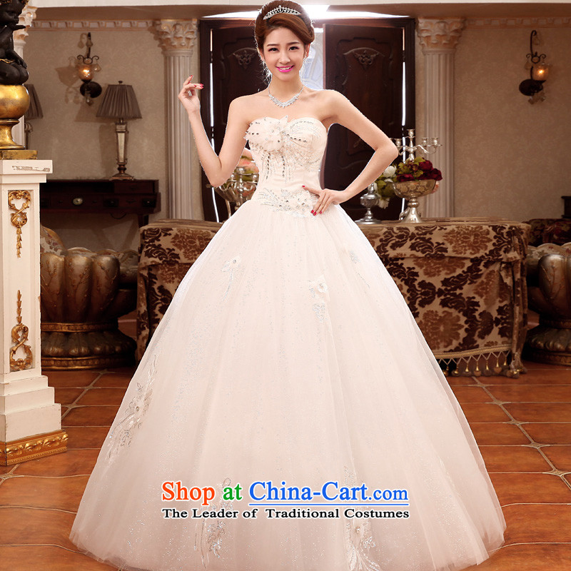The privilege of serving-leung 2015 new Korean Bridal Fashion Princess Mary Magdalene chest to sweet wedding dress wedding dress White聽XXL