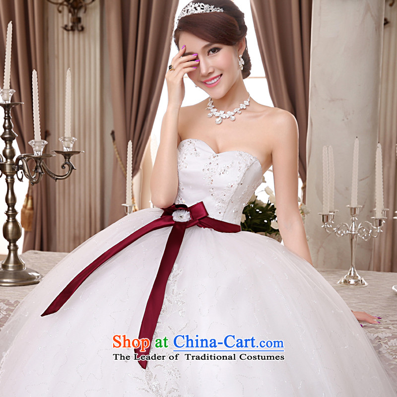 The privilege of serving-leung 2015 new Korean brides wedding dress wiping the chest to align the bow tie straps princess wedding dress White?XXL