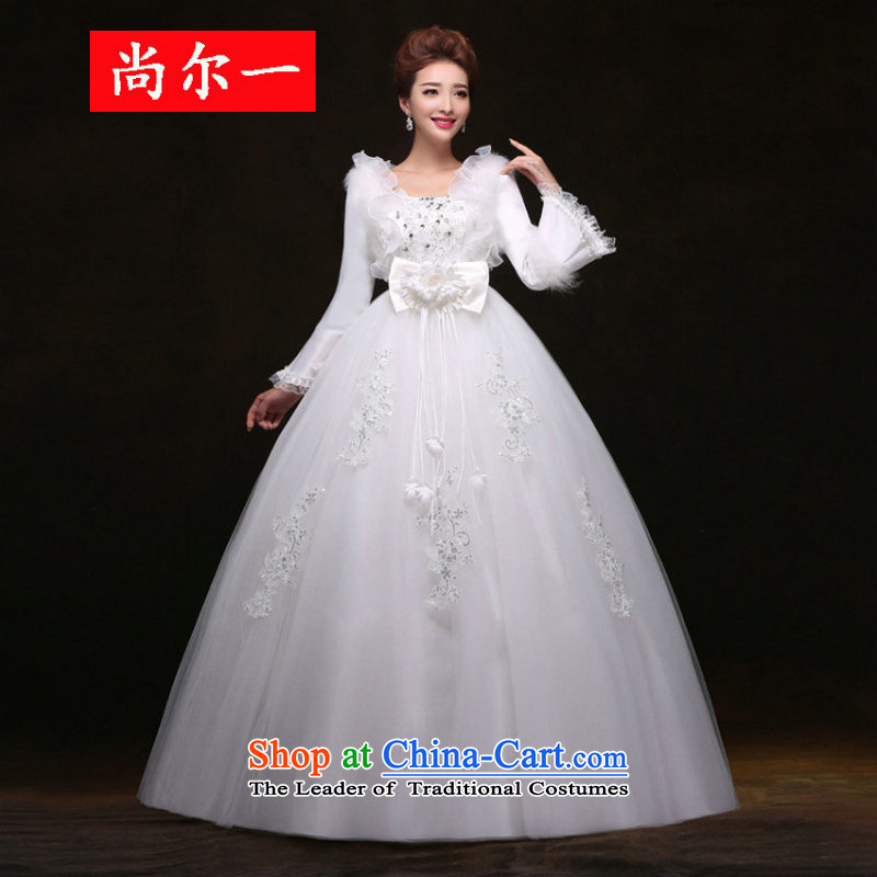 Yet, a new paragraph winter) Bride long-sleeved wedding thick warm winter clothing marriage wedding dress winter yy09108 pregnant women white�L