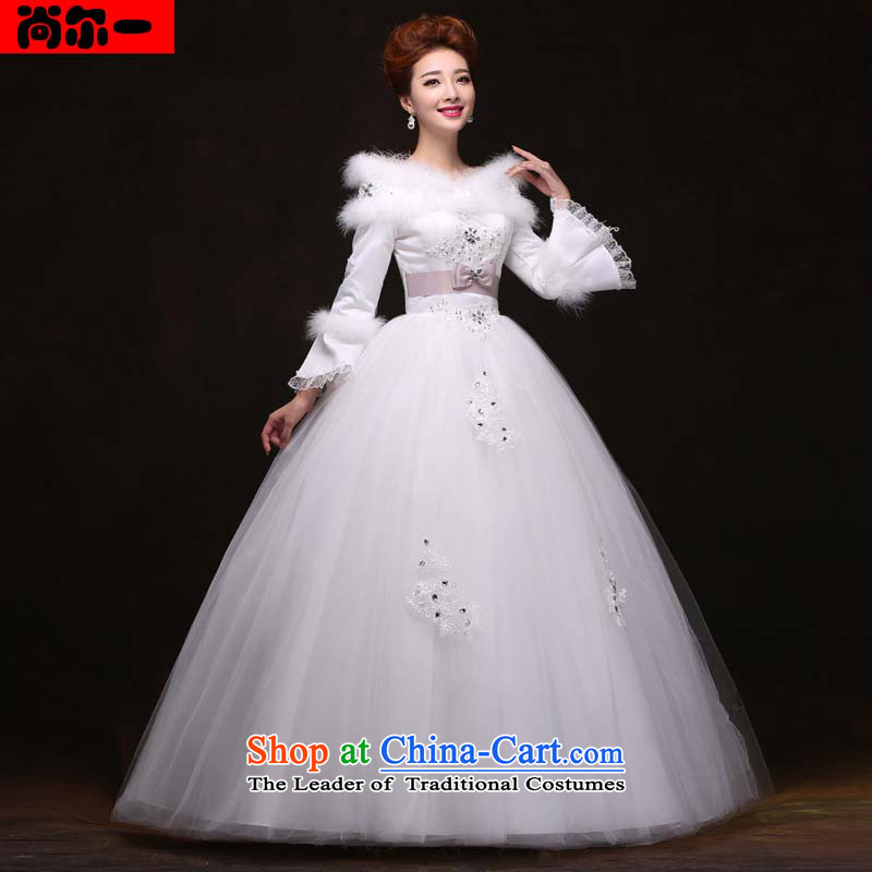 Yet, a 2014 winter thick for women wedding dress white lace a long-sleeved shoulder the cotton field yy091041 White�XL