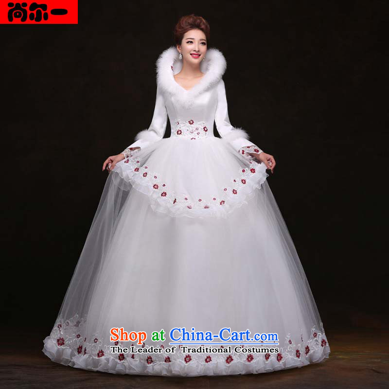 Naoji a winter new long-sleeved to align the wedding dresses Sau San video thin princess bon bon skirt wedding yy091107 White�XL