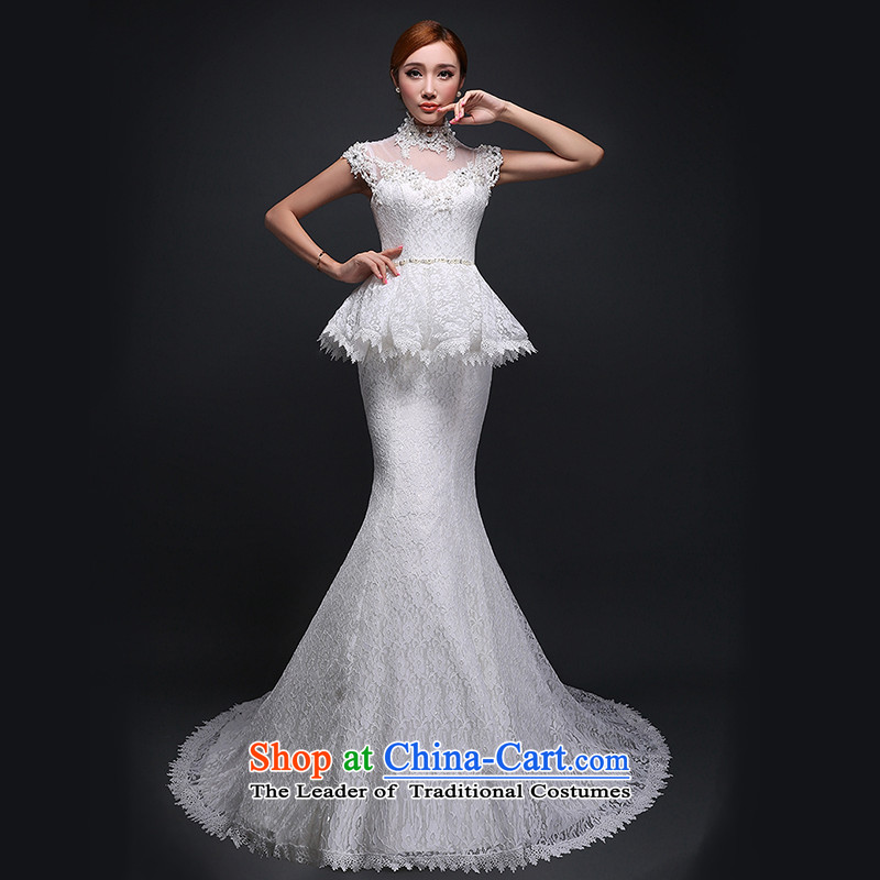Hei Kaki wedding dresses new 2015 autumn and winter stylish tail bride anointed chest straps wedding Sau San crowsfoot ivory聽XL