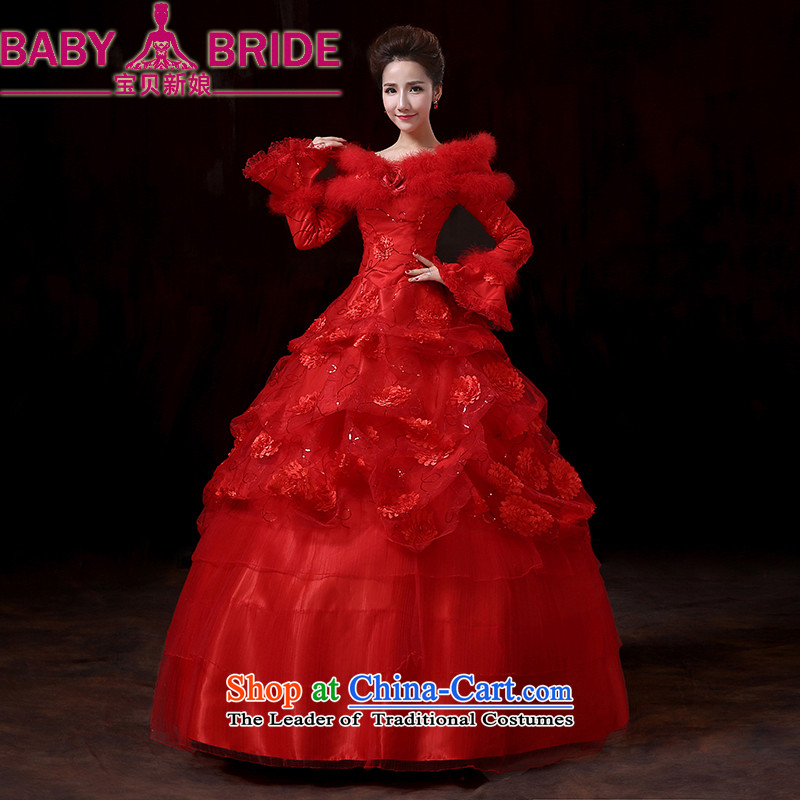The new bride bo 2014 winter long-sleeved gross for thick integrated belt clip cotton wedding winter clothing red wedding marriages bows service�S