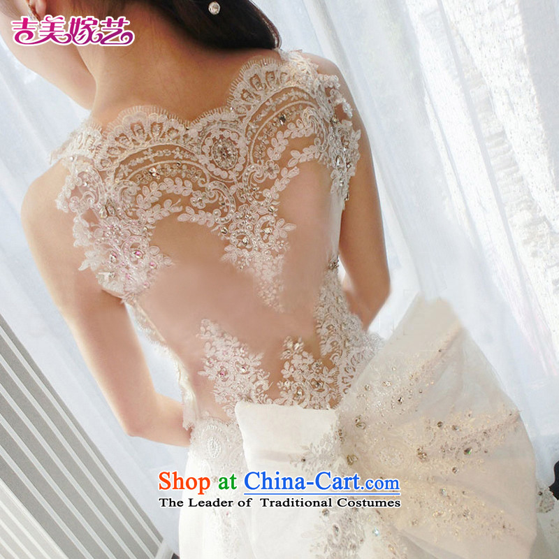 Pre-sale - wedding dresses Kyrgyz-american married new Korean arts 2015 version on the shoulders with tail HT7658 bride wedding tail�XS