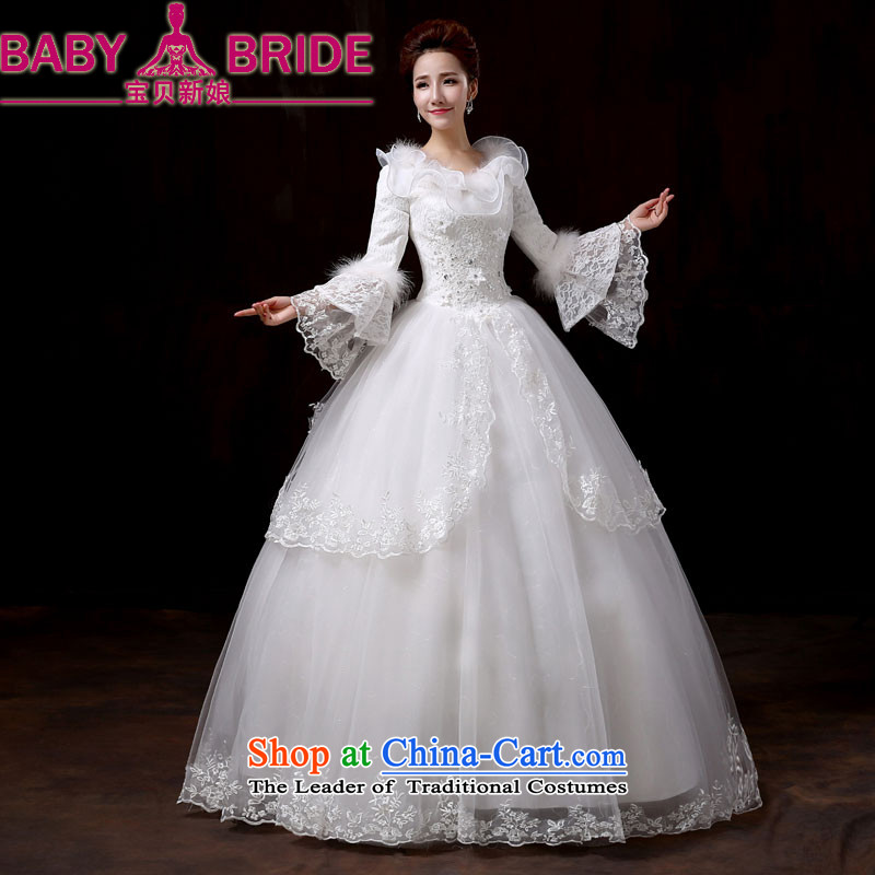 Baby bride wedding dresses new 2014 winter Princess cuff sweet wedding long-sleeved thick Korean version for autumn and winter, of gross cotton replacing�M
