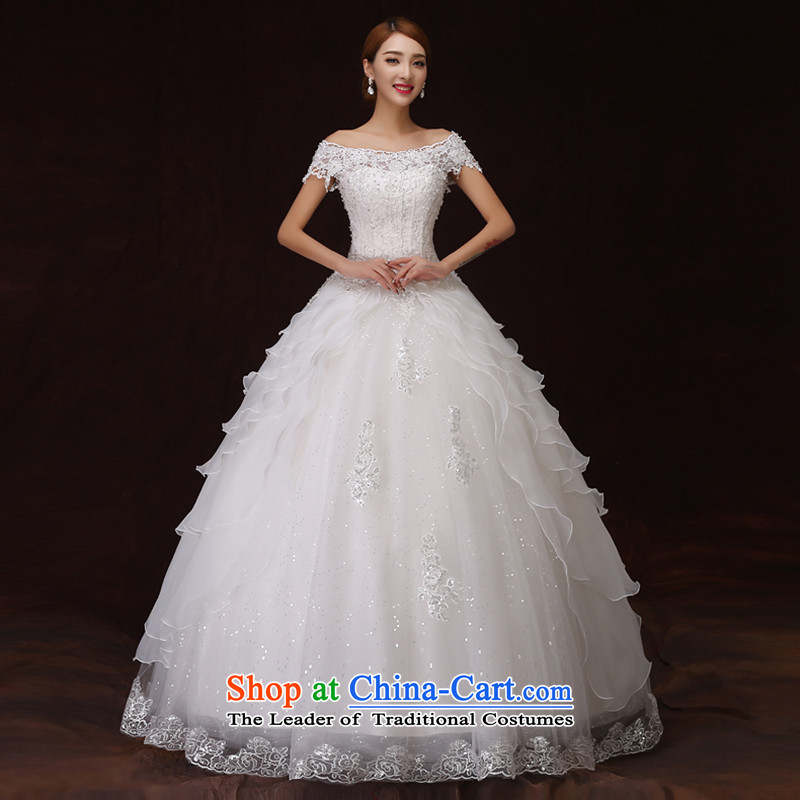 No new 2015 bride embroidered retro graphics word thin lace stereo flower shoulder bon bon princess skirt wedding white L 2 feet 1 waist Suzhou Shipment