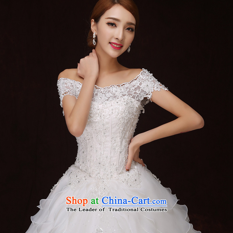 No new 2015 bride embroidered retro graphics word thin lace stereo flower shoulder bon bon princess skirt wedding white L 2 feet 1 Suzhou shipment, waist embroidered bride shopping on the Internet has been pressed.