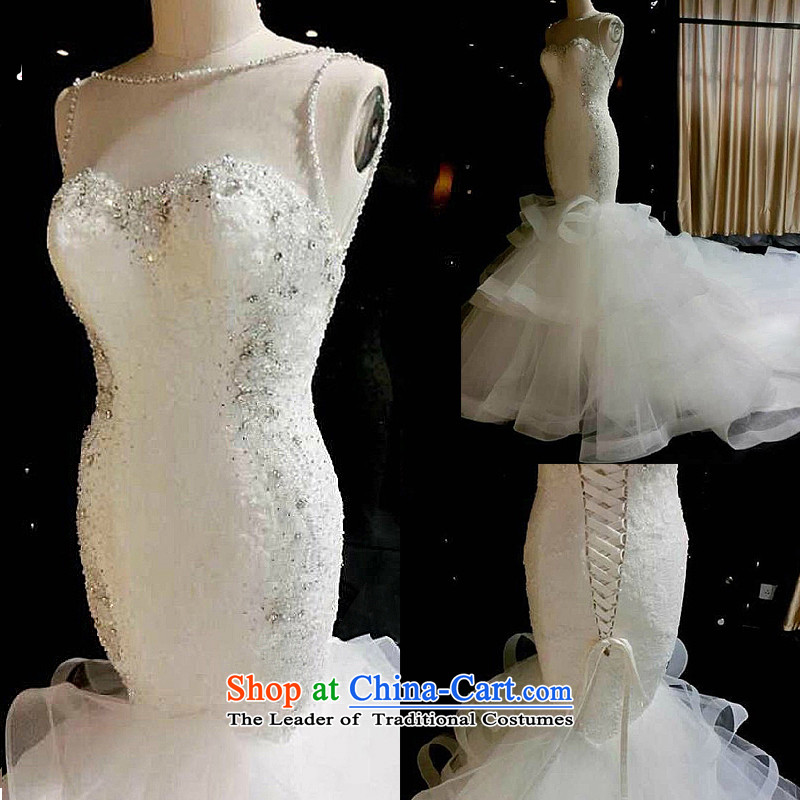Pre-sale - wedding dresses Kyrgyz-american married arts new 2015 Antique Lace water drilling Sau San Princess crowsfoot long tail 7662 White�XXL