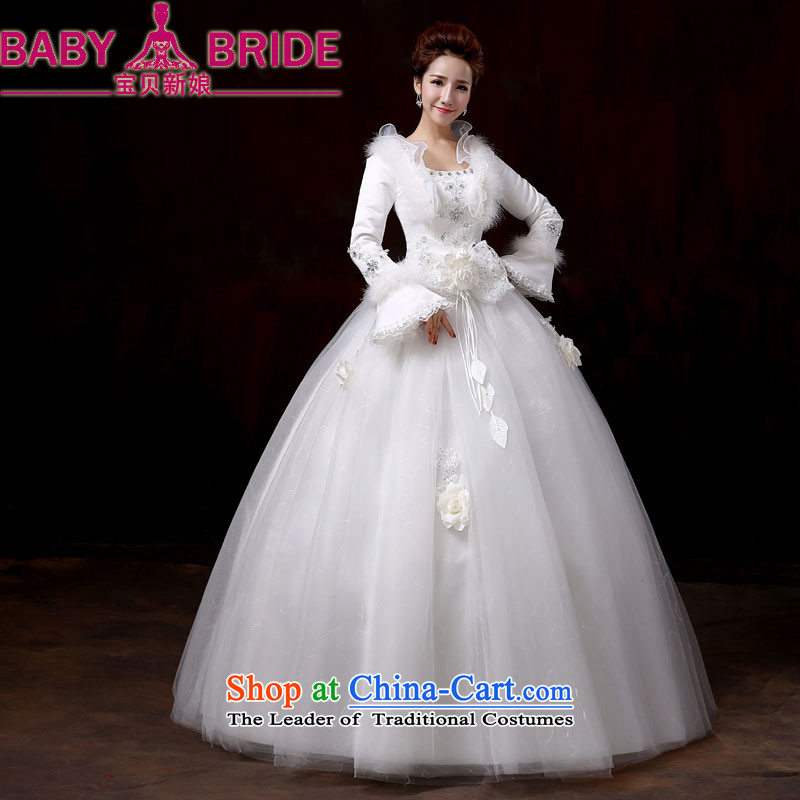 Wedding dress 2014 new winter clothing thick winter plus cotton long-sleeved top loin straps Korean pregnant women for larger princess wedding?XXL