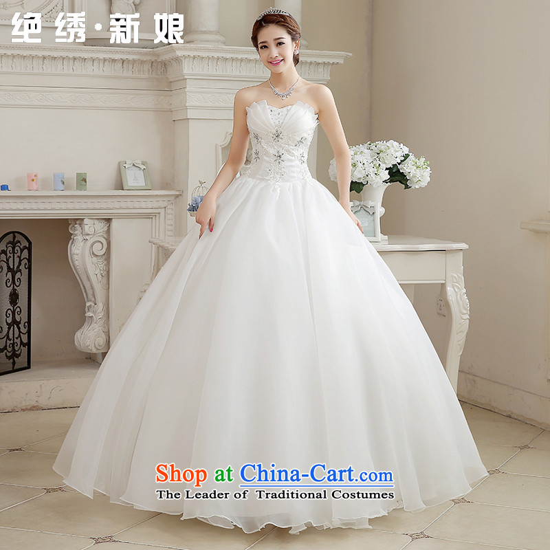 There is a�stylish 2015 brides bride embroidered wedding dress the new Korean version of video thin and align the chest straps Sau San large retro Diamond White tailored does not allow