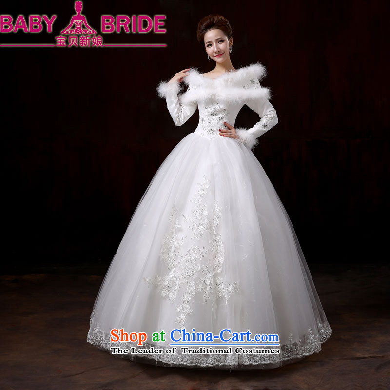 Baby bride wedding dresses 2014 new winter thick to align the wedding marriages long-sleeved plus the word cotton shoulder wedding�XL