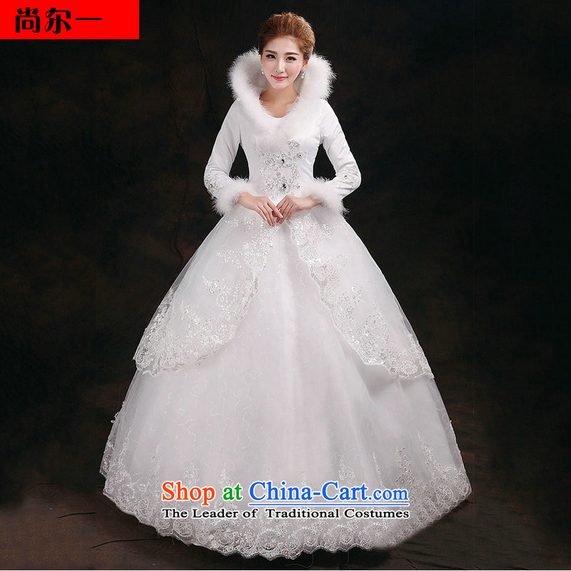 Yet, a 2014 winter to align the new Korean thick bon bon skirt long-sleeved plus cotton collar wedding winter YY2910 white�L