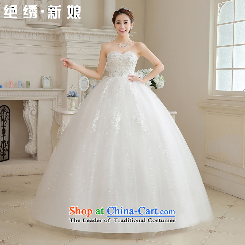 Embroidered bride spring and summer is the new modern Korean 2015 diamond wiping the breast height large waist to align graphics thin pregnant women bride wedding�XXXL White