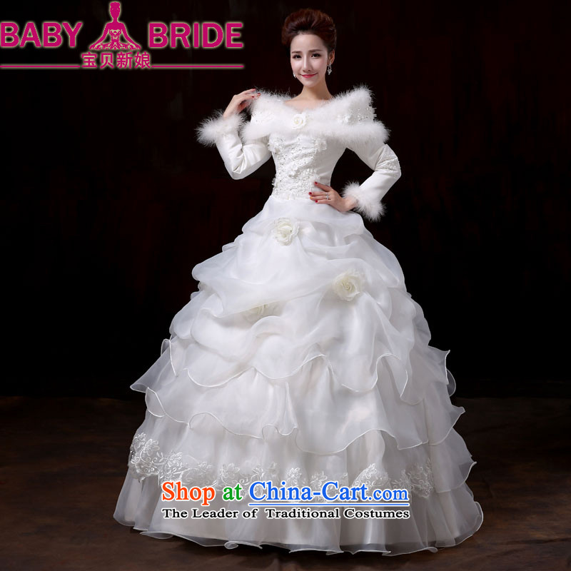 The Bride in the winter of long-sleeved baby basket to align the wedding dress code version of large Korean video thin 2014 new winter wedding cake female?XL