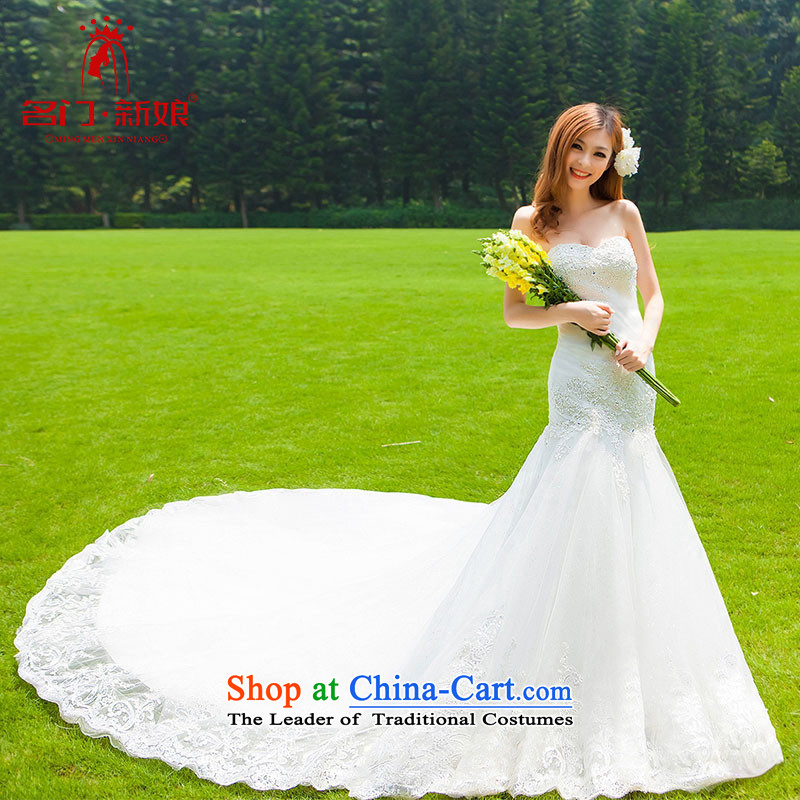 A Wedding Dress聽2015 new sexy lace crowsfoot anointed chest Korean Princess tail wedding 936 L