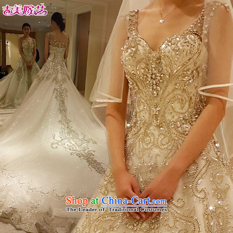Pre-sale - American married new arts 2015 wedding dress shoulders Korean version of large tail water drilling bon bon skirt HT7697 wedding on crystal drilling under resin Drill 1.5 m tail XL