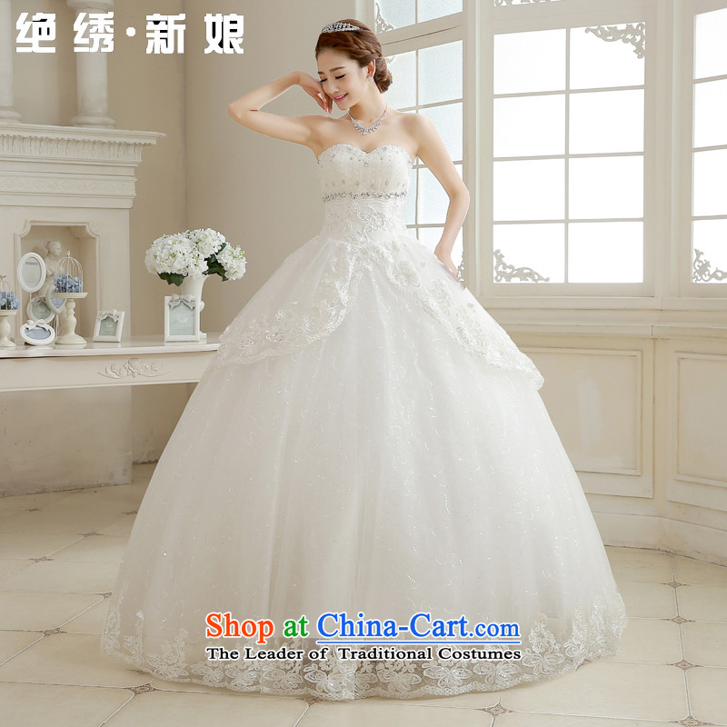 Embroidered brides fall_winter is by no means a new stylish Korean 2015 diamond wiping the breast height large waist to align graphics thin pregnant women bride wedding dresses white tailored does not allow