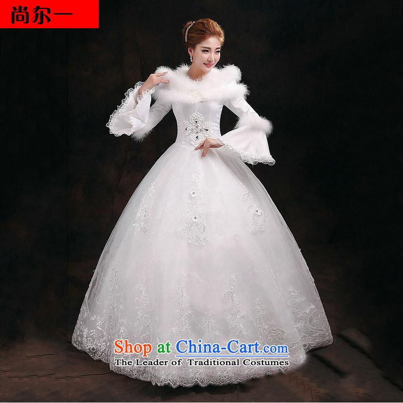 Naoji a bride winter wedding long-sleeved thick winter, wedding sweet graphics wedding YY2912 thin White燲L