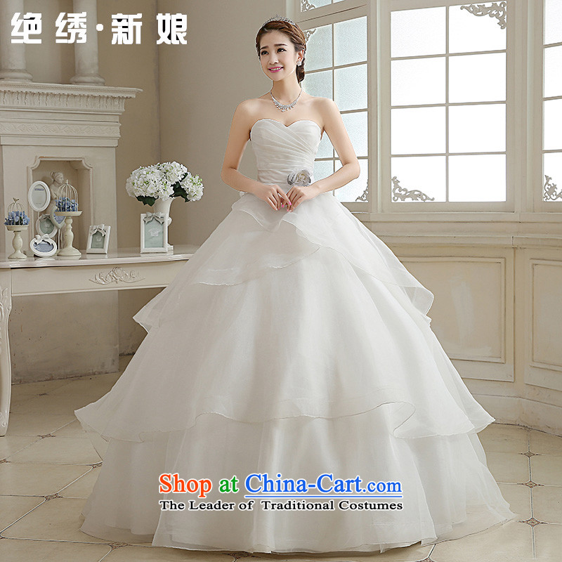 Embroidered is the?new Korean brides 2015 edition stylish anointed chest to larger graphics thin strap diamond wedding dresses marriages White?M?2 feet waist Suzhou Shipment