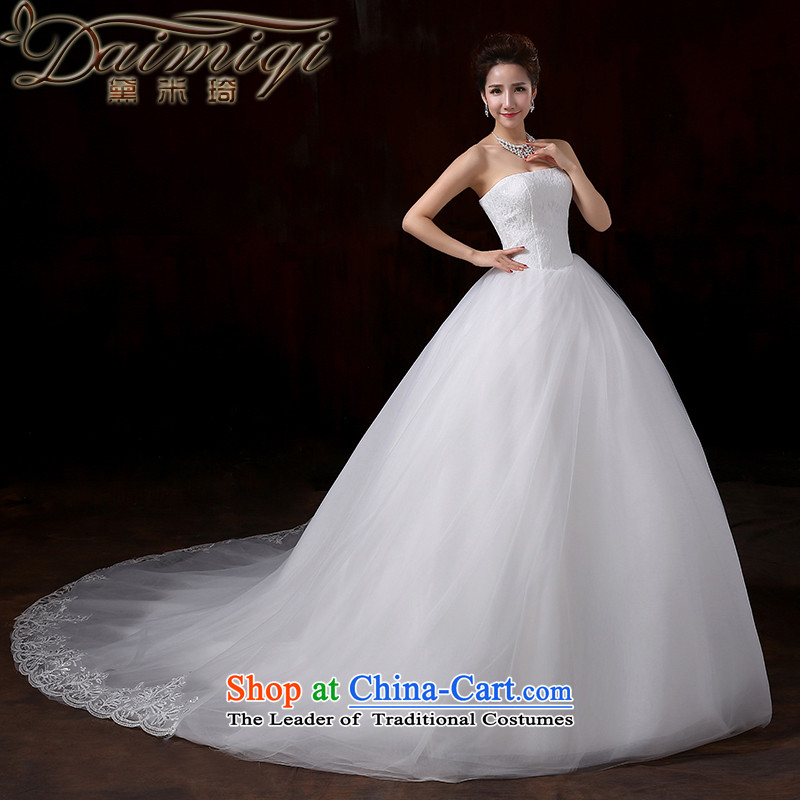 Doi m qi wedding dresses 2015 new irrepressible stylish and elegant lace wiping the chest to bind with bride noble fresh large-tail wedding wedding dress tail?XXL