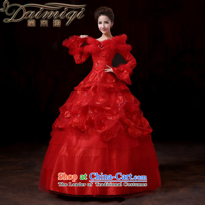 Doi m Qi New 2014 winter Princess cuff gross for long-sleeved thick strap clip cotton wedding winter clothing red wedding services XXL toasting champagne marriages