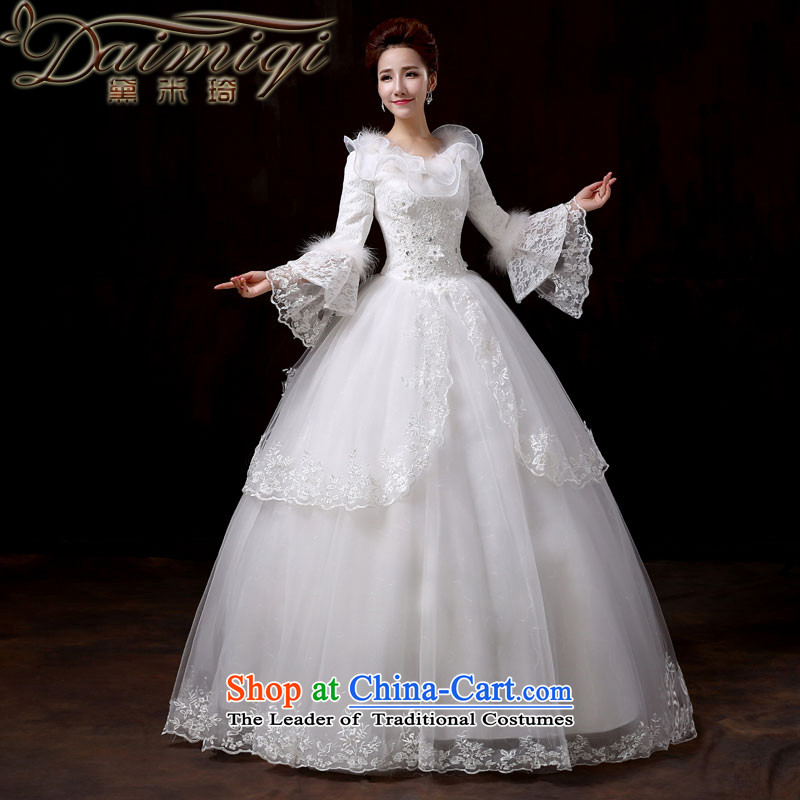 Doi m qi wedding dresses new 2014 winter Princess cuff kit for lace edge sweet wedding long-sleeved thick Korean version for autumn and winter, of gross cotton replacing?M