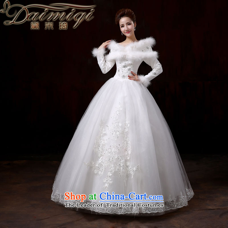 Doi m qi wedding dresses 2014 new winter thick to align the wedding marriages long-sleeved plus the word cotton shoulder Foutune of video thin wedding�XL