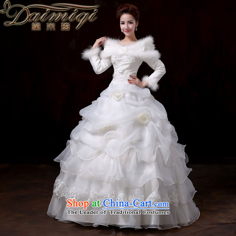 Doi m qi) word winter shoulder to align the long-sleeved cotton wedding dress code version of large Korean video thin 2014 new winter multi-tier cake wedding female?XL