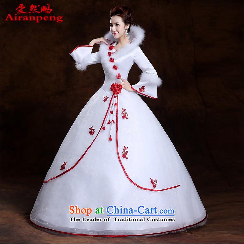 Wedding dresses new 2014 winter long-sleeved thick Korean version for autumn and winter, of gross cotton flowers with large?L package marriage returning