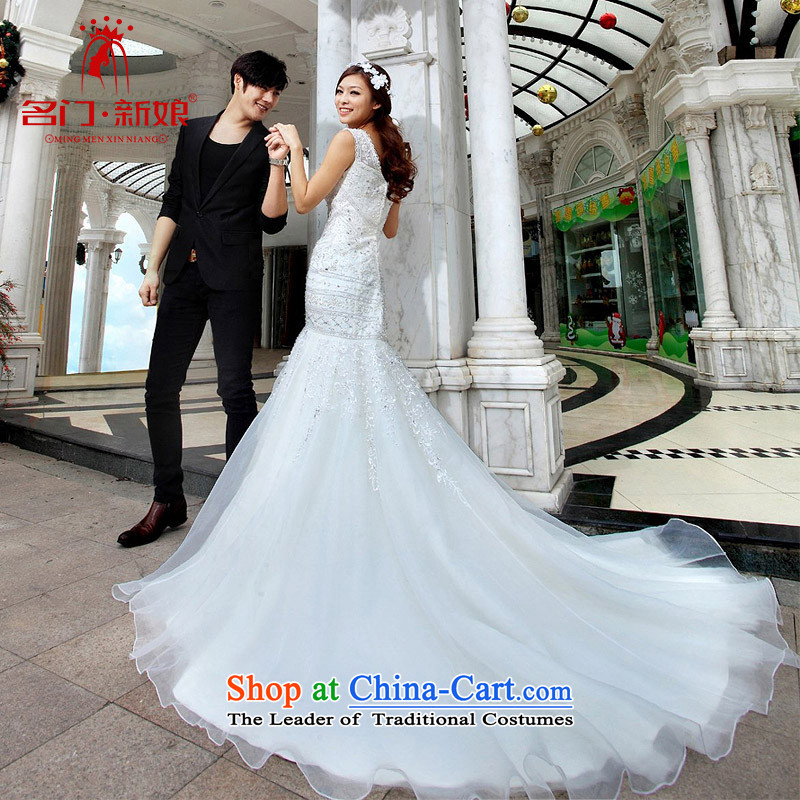 A wedding dresses sweet elegant princess tail wedding new 2015 crowsfoot shoulders wedding A990 L