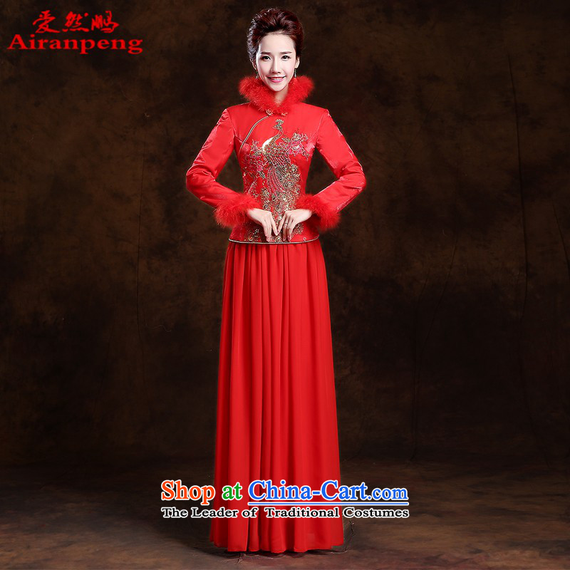 The bride of autumn and winter thick hair for long qipao new 2014 red retro wedding dress bows services long-sleeved�L package returning