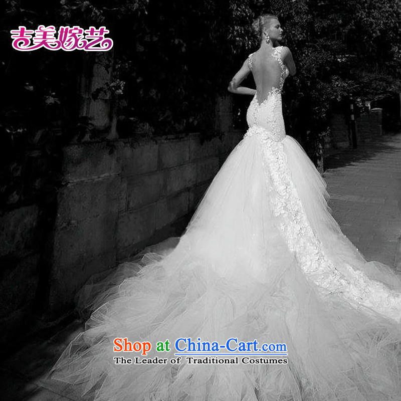 Pre-sale - wedding dresses Kyrgyz-american married arts new 2015 lace high-end trailing 7312 Korean brides wedding version A XXL