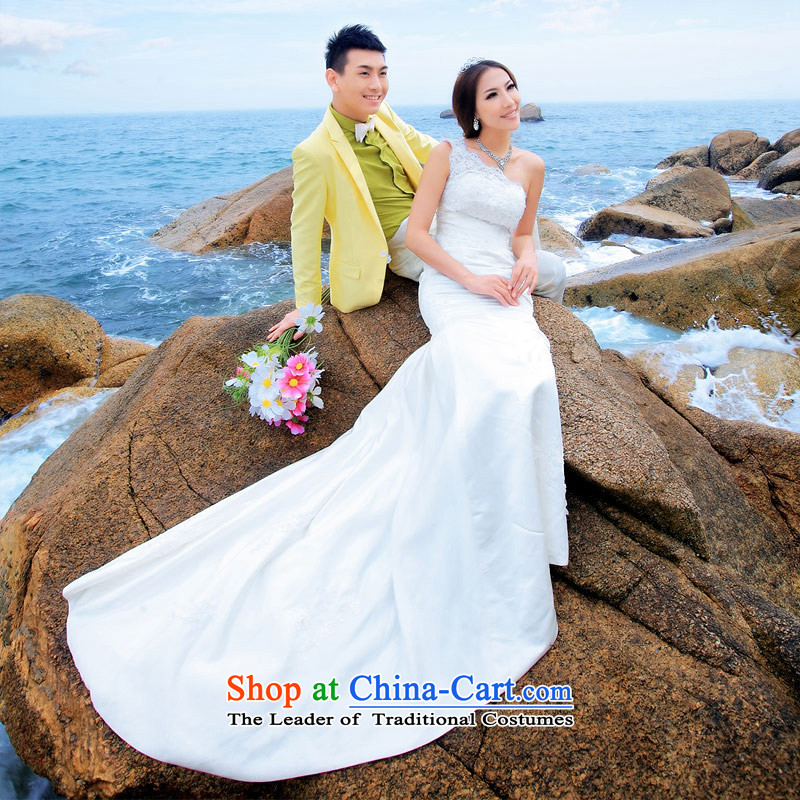 A Bride wedding dresses crowsfoot) wedding dresses, fell onto the ground long gown marriage wedding 838 L, a bride shopping on the Internet has been pressed.