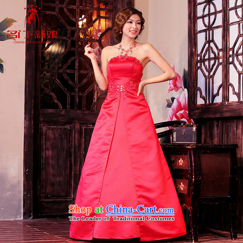 A bride wedding dresses 2015 new anointed chest evening dresses long marriage bows dress 974 S