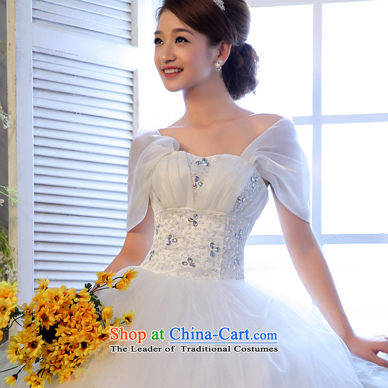 The privilege of serving-leung 2015 new packages and chest Korean shoulder bride video thin wedding dress larger thick mm wedding dress White?4XL