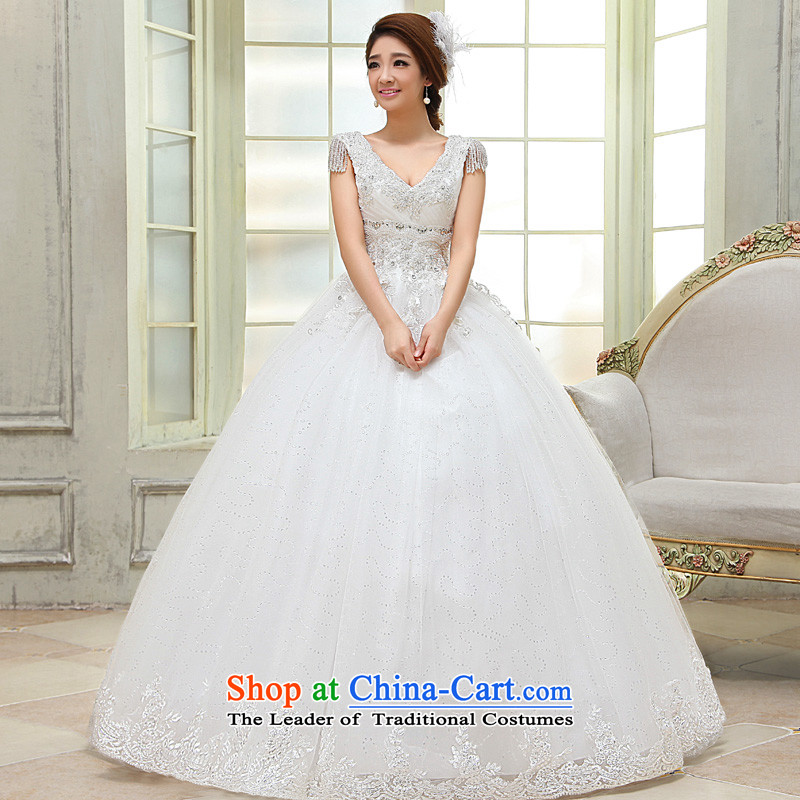 The privilege of serving-leung 2015 new Korean brides stylish wedding dress V-neck strap to align the princess wedding dress white?S
