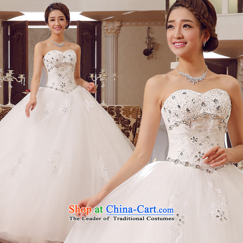 The privilege of serving-leung 2015 new bride Korean stylish wedding dress wiping the chest diamond align to Sau San tie wedding White?XXL