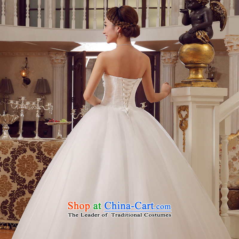 The privilege of serving-leung 2015 new bride Korean stylish wedding dress wiping the chest diamond align to Sau San tie weddingXXL, white honor services-leung , , , shopping on the Internet