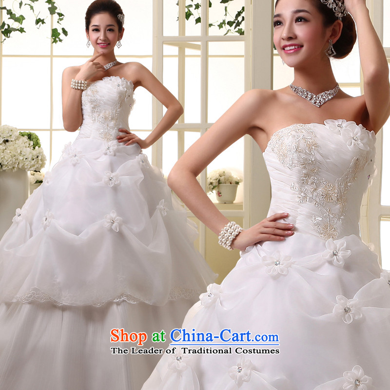 The privilege of serving-leung new Korean Bridal Fashion 2015 wedding dress princess sweet words to his chest wedding dress white聽XXXL