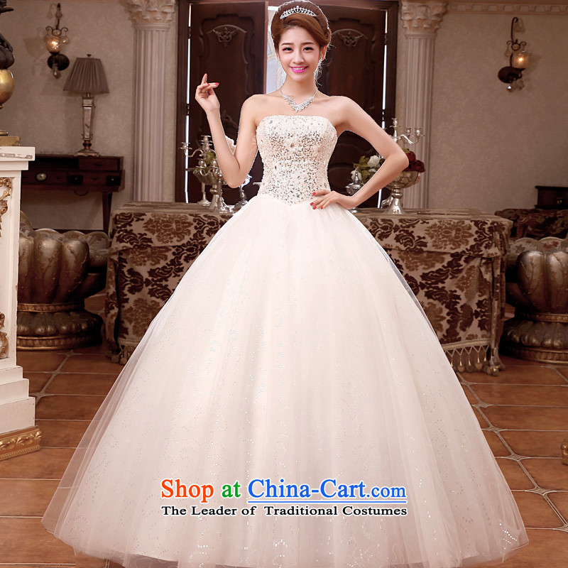 The privilege of serving-leung 2015 new bride wedding dress Korean Princess Mary Magdalene Chest straps to stylish wedding dress White聽XXL