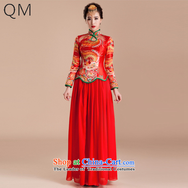 The end of the light (QM) red wedding dresses long-sleeved qipao retro married long bride bows wedding services�QP81 CTX�RED�L