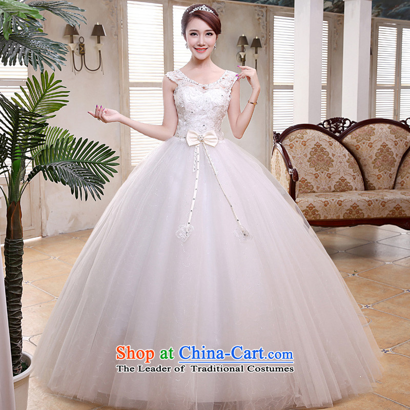 The privilege of serving-leung 2015 new shoulders Korean brides wedding dress a field empty courage shoulder lace stylish wedding dress white?S