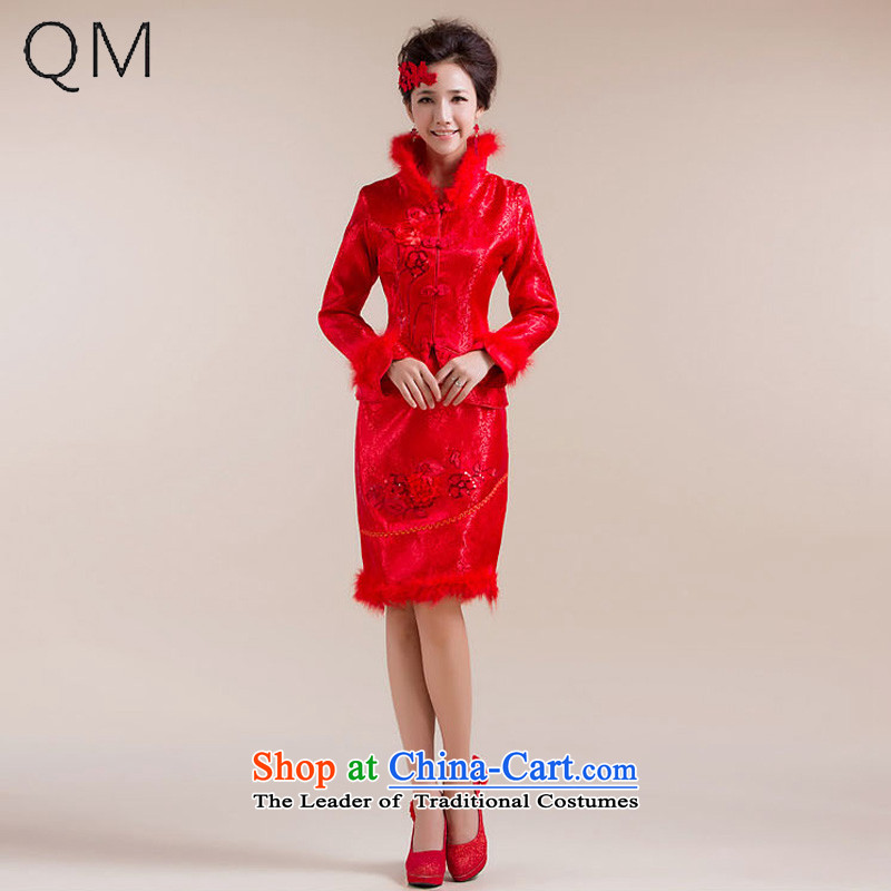The end of the light (QM) wedding dresses marriages bows qipao cotton qipao feather gross collar�CTX�RED�L